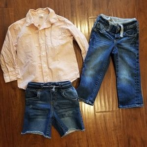 Lot of 3 boys 3T jeans, shorts and shirt